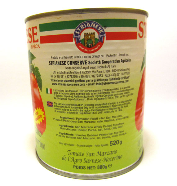 D.O.P. Certified Strianese San Marzano Tomatoes 796ml(28oz) Can