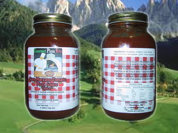 1 Litre D.O.P. Certified San Marzano Tomato *Spicy* Pizza Sauce